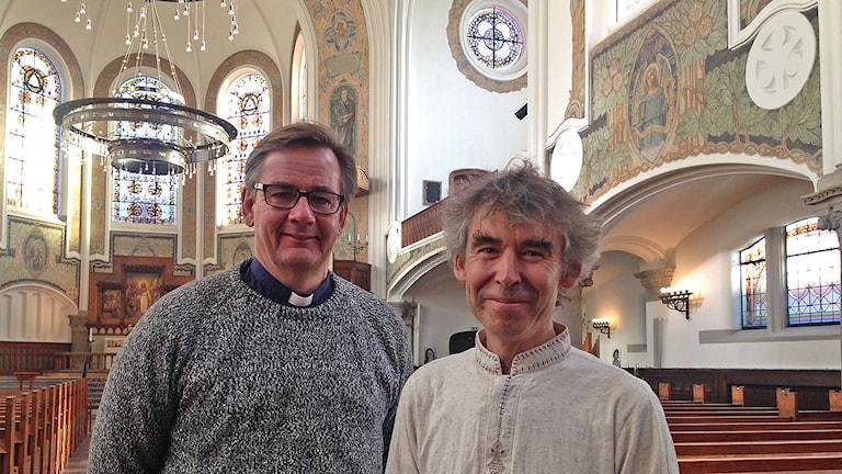 Anders Ekhem och Per Kristiansson i Johanneskyrkan. Foto: Özgür Karlidag/Sveriges Radio