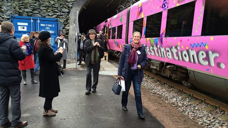 Första tåget har gått genom tunneln. Foto: Gunilla Nordström/Sveriges Radio