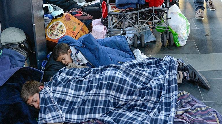 Nyanlända flyktingar sover på Malmö Central. Foto: Anders Wiklund/TT