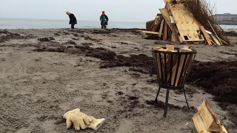 Stranden förbereds för Nyårsdoppet. Foto: Malin Rimfors/Sveriges Radio