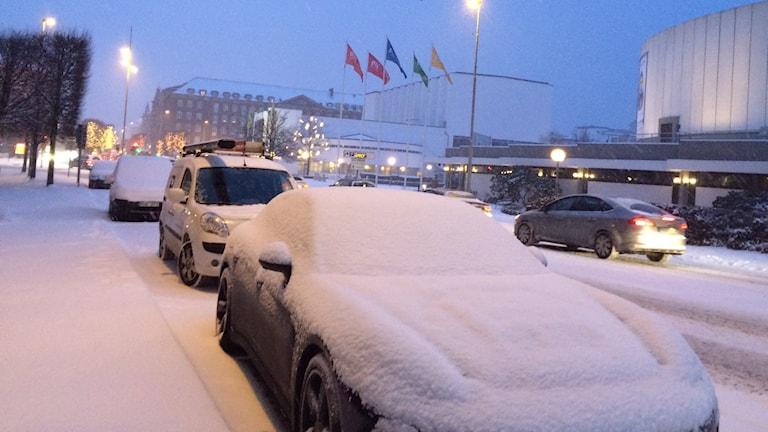 Snön slog till i nordvästra Skåne tidigt på torsdagen.
