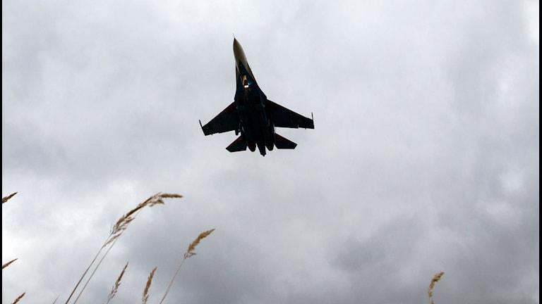 Jaktplan flyger mot en grå himmel. Lite vass syns till höger i bilden.