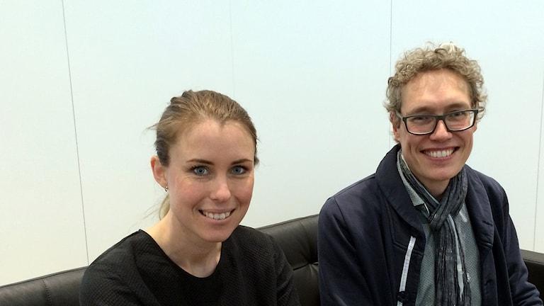Linda Malmgren, kommunikationschef på Mobile Heights, och Markus Agevik, tidigare Sonyanställd i Lund som startade eget efter varslet. Foto: Petra Haupt/Sveriges Radio