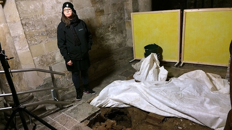 Gertie Ericsson, arkeolog från Kulturen. Foto: Madeleine Fritsch-Lärka/Sveriges Radio
