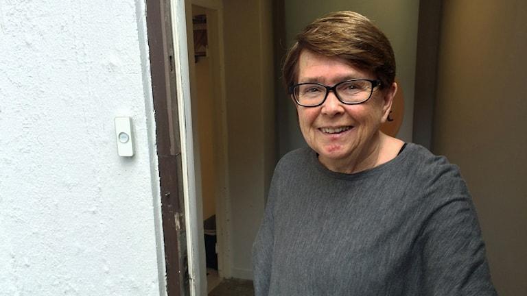 Ewa Bertz (L) vid partiets lokaler i Malmö. Foto: Dimitri Lennartsson/Sveriges Radio