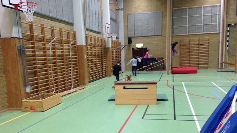 Barn springer runt i sporthallen och över på parkourhopp. Foto: Jonathan Hansen/Sveriges Radop
