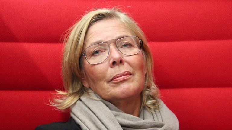 Region Skånes strateg Anja Nyberg ligger bakom poddsatsningen #heltokej om ungas psykiska hälsa. Foto: Hans Zillén/Sveriges Radio.