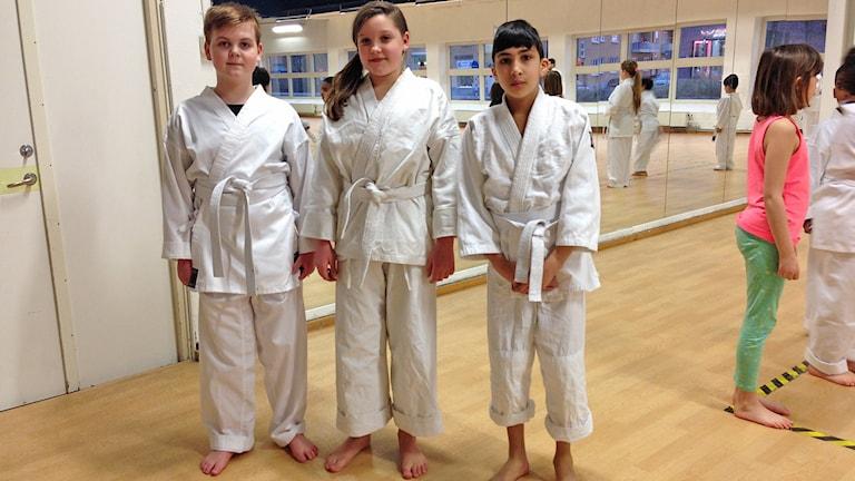 Valentin Karlsson, Gabriella Hoffman och Omar Saleh tränar karate på Enighet i Malmö. Foto: Kajsa Nordmark/Sveriges Radio.