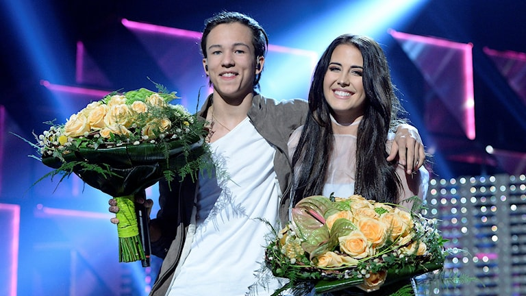 Frans och Molly Sandén gick direkt till final i den fjärde deltävlingen i Melodifestivalen i Gävle. Foto: Jessica Gow/TT