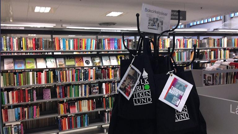 Bokkassar på Lunds stadsbibliotek.