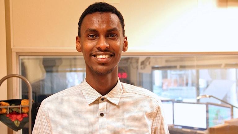 Hamza Ibrahim på Ensamkommandes förbund.
