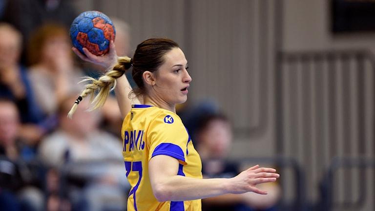 Jasmina Djapanovic från H65 Höör debuterade i landslaget mot Rumänien. Foto: Björn Lindgren/TT