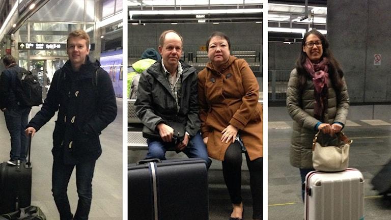 Viktor, Per, Silvia och Hanna är några resenärer som inte låter sig skrämmas av terrordåd. Fotokollage: Kajsa Nordmark/Sveriges Radio