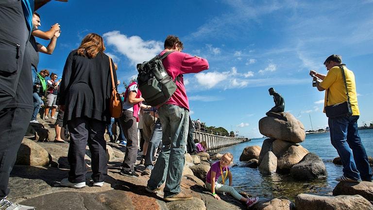 Den lille havfrue, sjöjungfrun i Köpenhamns inlopp är landets mest besökta kvinna. Foto: Drago Prvulovic/TT