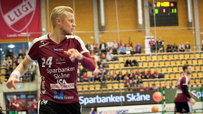 Hampus Jildenbäck, handbollsspelare i Lugi. Foto: Karin Olsson-Bendix/Sveriges Radio.