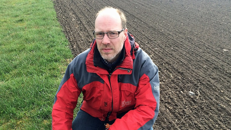 Lantbrukaren Mattias Hammarstedt sår frön som hjälper humlor och bin. Foto: Malin Thelin/Sveriges Radio