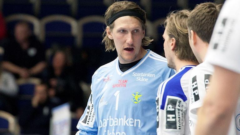 Anders Persson, handbollsmålvakt i Ystads IF. Foto: Karin Olsson-Bendix/Sveriges Radio.