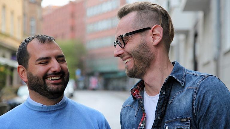 Michel Massadakis, vd och Jakob Svärd, marknadsansvarig på Självbildarna. Foto: Karin Olsson-Bendix/Sveriges Radio