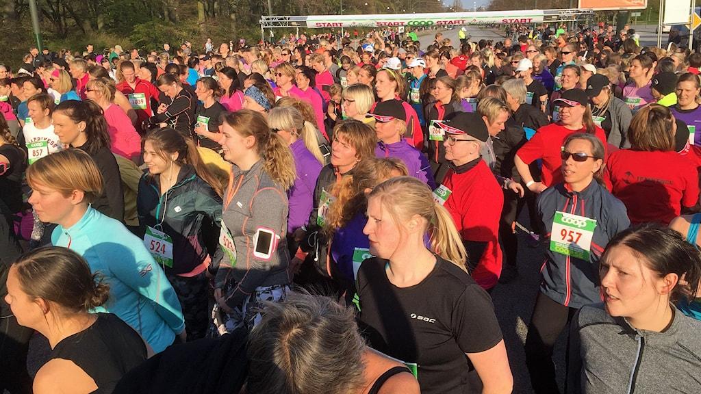 Några av de 5 000 kvinnorna inför starten i Vårruset i Malmö. Foto: Johanna Hellström/Sveriges Radio.