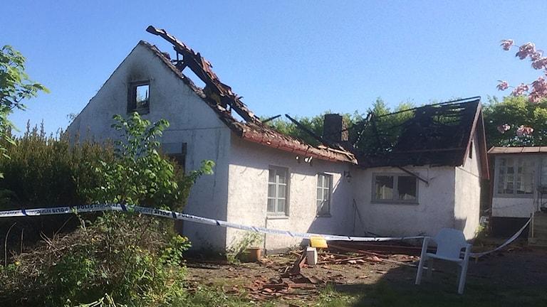 Det brandskadade huset i Bökeberg,