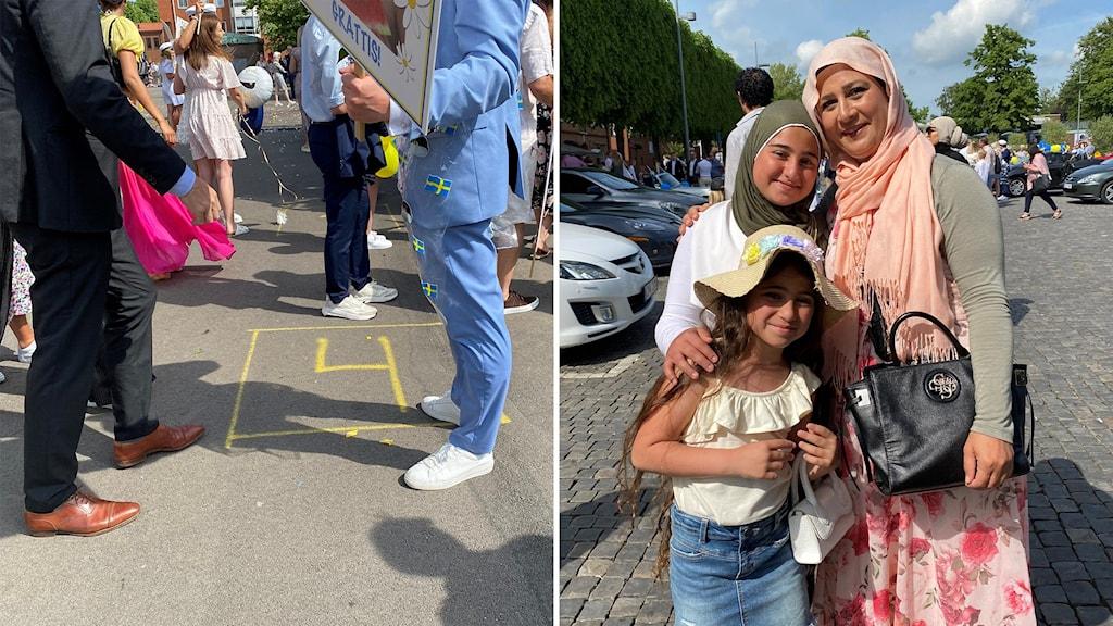 Till vänster fötter och en målad ruta, till höger en glad kvinna med två barn.