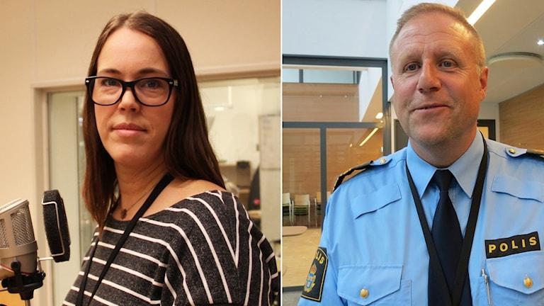 Sophia Willander, ordförande Polisförbundet region Syd och Stefan Sintéus, polismästare i Malmö. Foto: Sveriges Radio