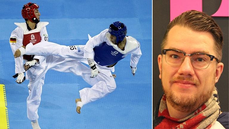 Afghanistans Rohullah Nikpai sparkar en motståndare under OS i Beijing 2008. Till höger en portättbild på Christian Woxell som har kort hår och bär glasögon.