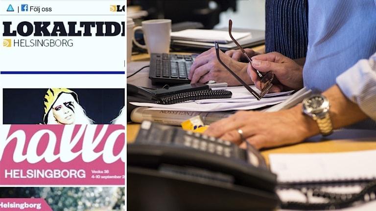 Skrivbord med datorer och telefon på en nyhetsredaktion.