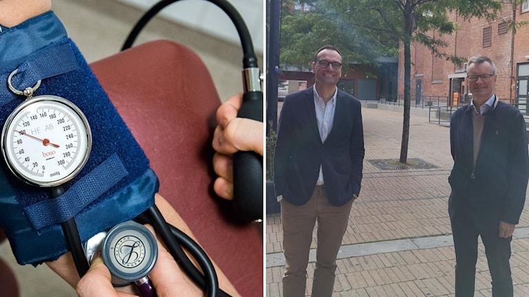 blodtrycksmätare och två män som står utanför ett köpcentrum.
