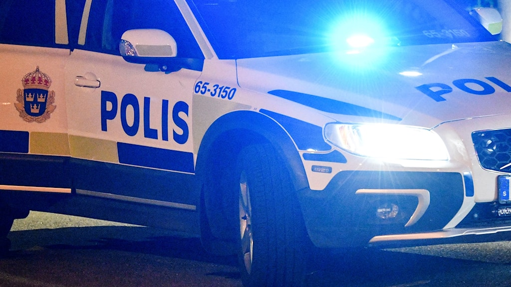 En polisbil står parkerad i mörkret.