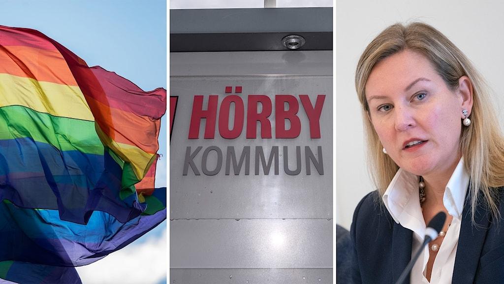 Prideflaggan vajar, Hörby kommun-skylt, politikern Cecilia Bladh in Zito (SD)