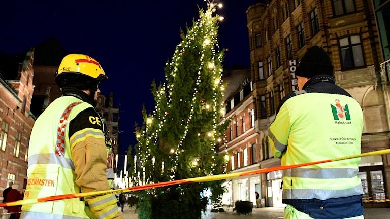 lutande julgran i Malmö