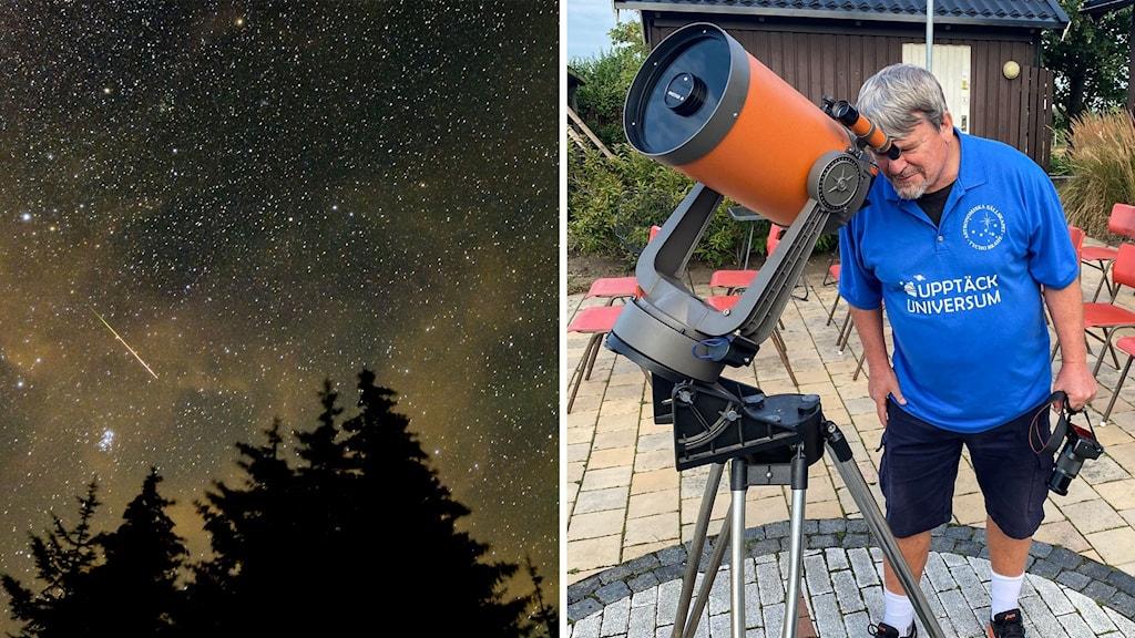 Stjärnfall man som kikar i ett teleskop