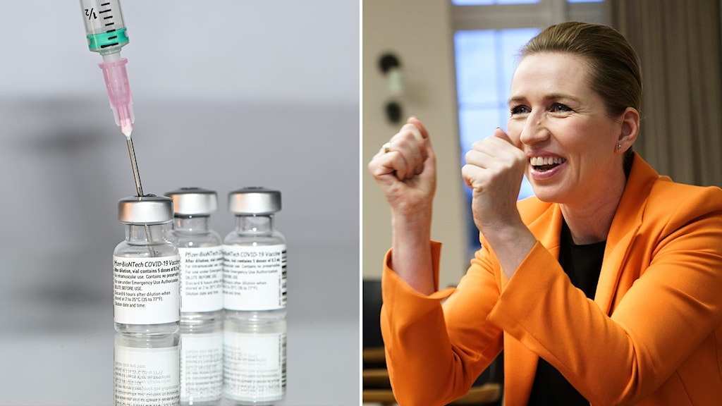 Montage med Danmarks premiärminister Mette Fredrikssen och Pfizer-BioNTech covid-19 vaccin.