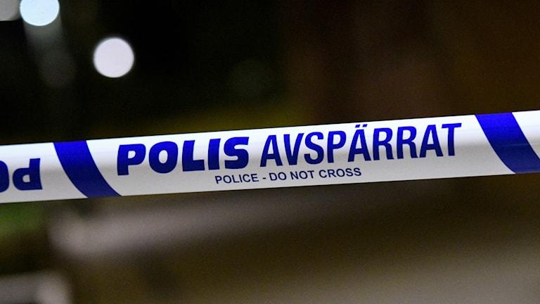 Polisens avspärrningsband. Foto: Johan Nilsson/TT