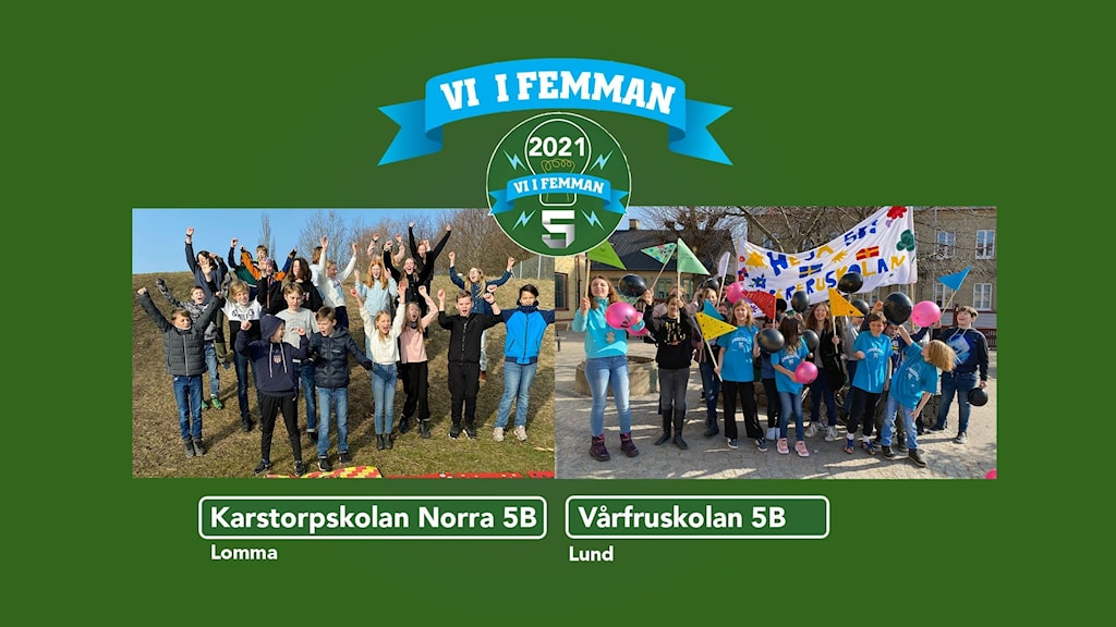 Vårfruskolans klass 5B och Karstorpskolan Norra 5B Lomma står uppställda för fotografering.