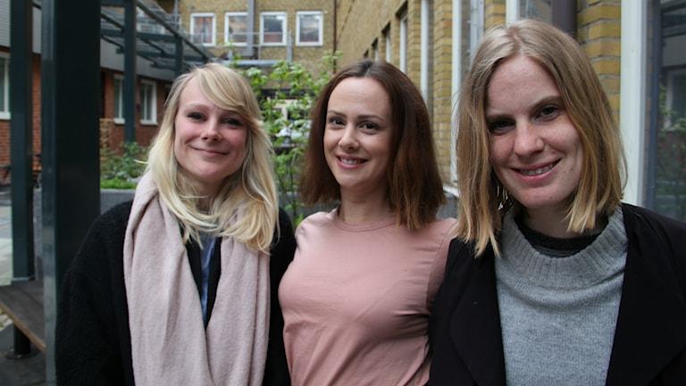 Barnboksförfattarna Mi Tyler, Elin Örå och Christina Lax.