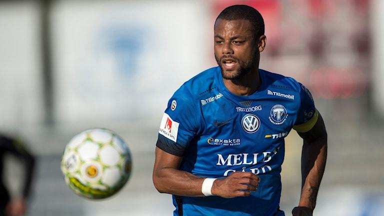 Trelleborgs FF:s anfallsspelare Salif Camara Jönsson. Foto: Björn Lindgren/TT.