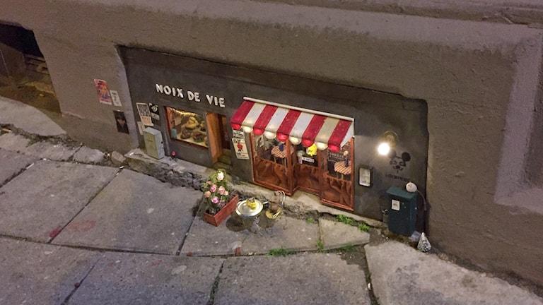 Den världsberömda musrestaurangen är tillbaka på Bergsgatan i Malmö efter att ha varit borta ett tag under helgen. Foto: Johanna Hellström/Sveriges Radio.