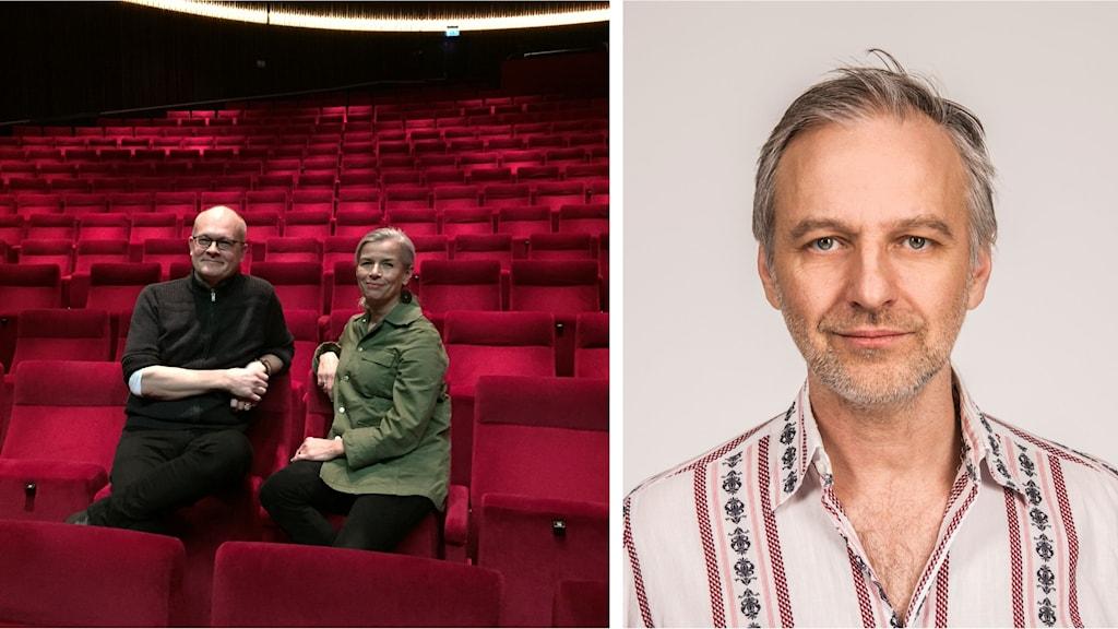 Chefterna för Helsingborgs symfoniorkester och Helsingborgs stadsteater bland röda salongssäten och en närbild på Björn Kjellman.