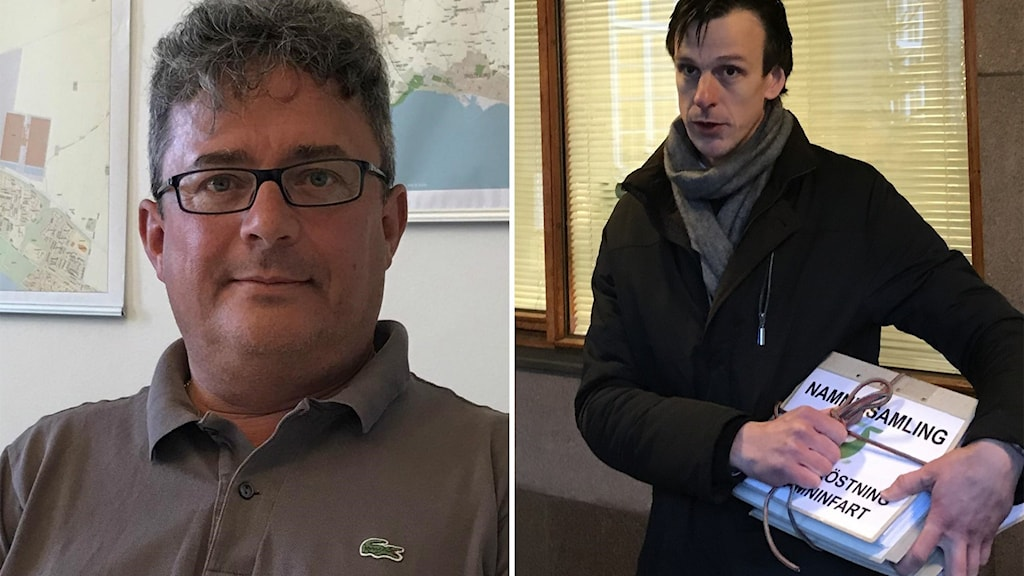 """Bildsplitt, till vänster närbild på en man, till höger en man som håller i en bunt med papper där det står """"namninsamling"""" på"""