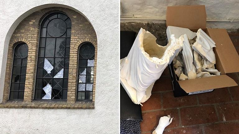 Krossade fönster på kyrka.