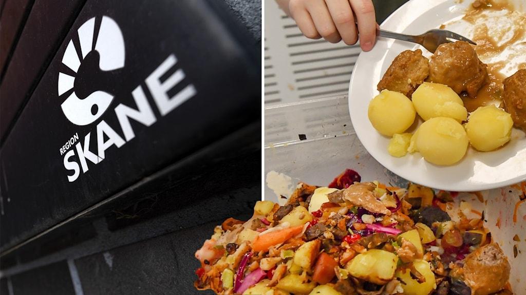 Till vänster Region Skånes logotyp, till höger en tallrik mat som slängs.