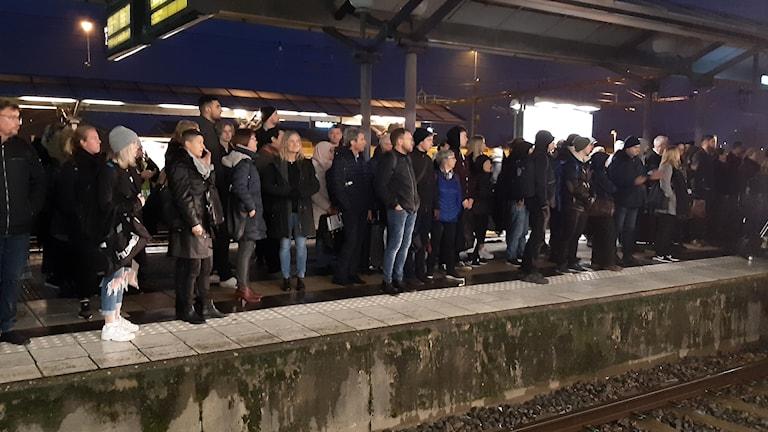 Fullt med människor står på perrong och väntar på ett försenat tåg.