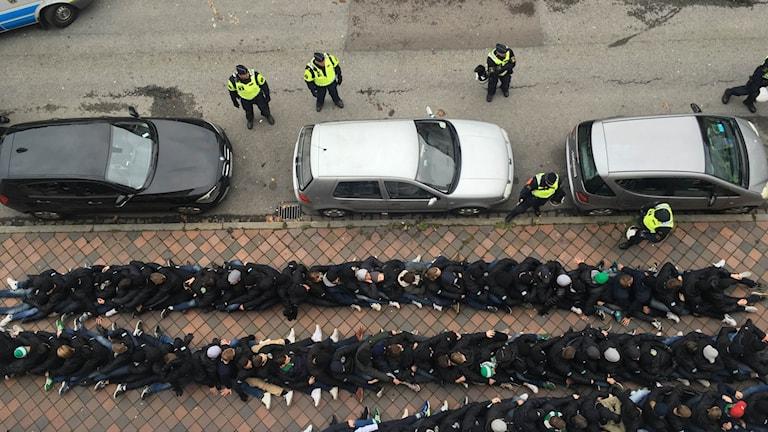 Supporterbråk i Malmö inför allsvenska matchen mellan MFF och Hammarby. Foto: Tamas Olivares/Privat.