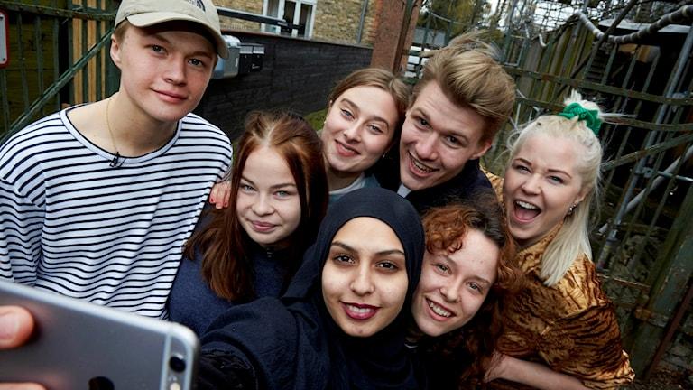 Skådespelarna som ska göra Skam på scenen på teatern Aveny-T i Köpenhamn. Foto: Birger Storm.