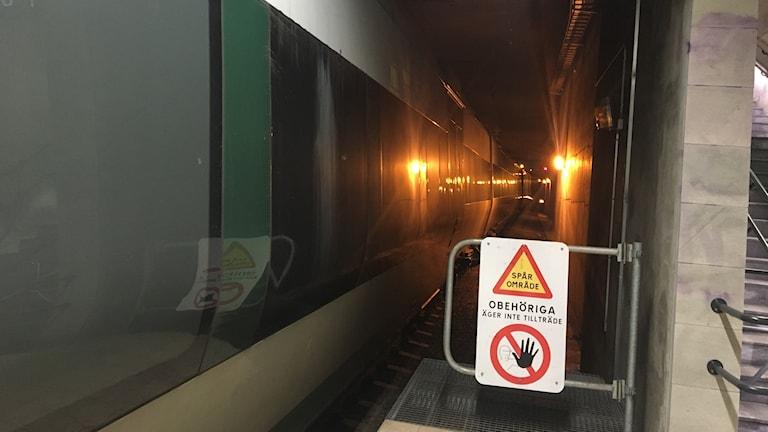 Ett tåg står delvis i en tågtunnel efter krocken.
