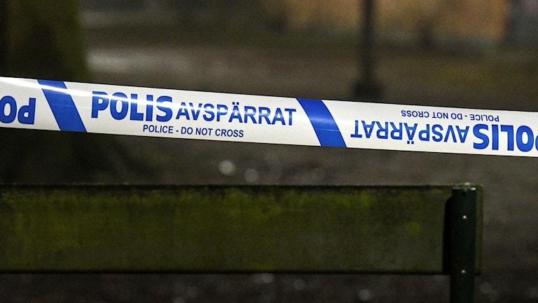 Avspärrningsband, polis. Foto: Johan Nilsson/TT