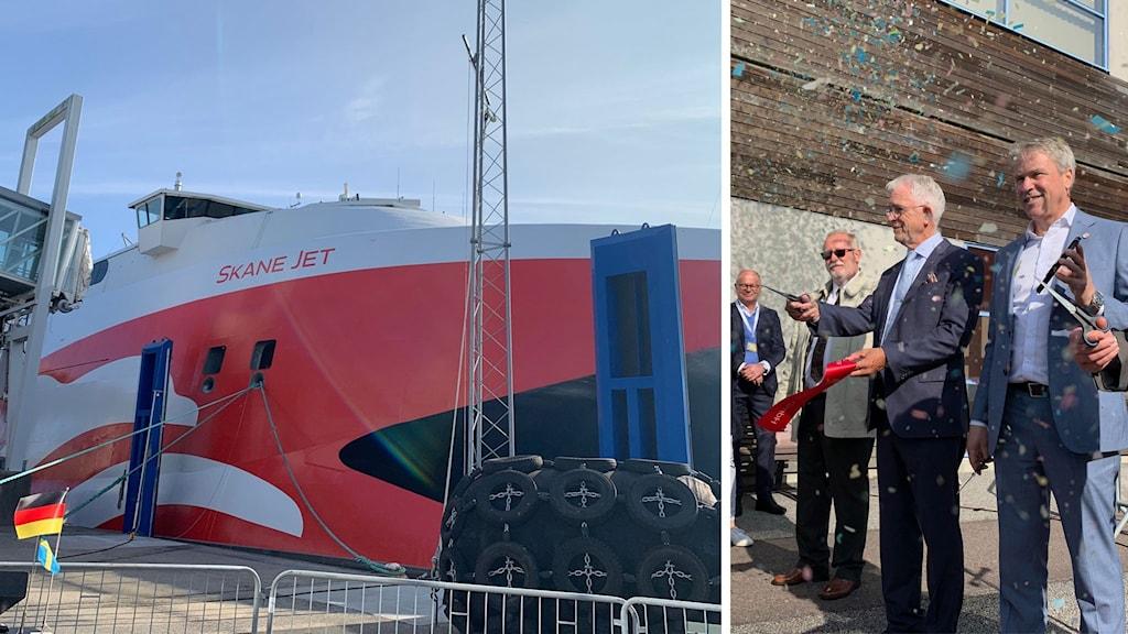 Katamaranen Skåne Jet vid hamnen i Ystad och män som klippt av ett band omringade av konfetti.