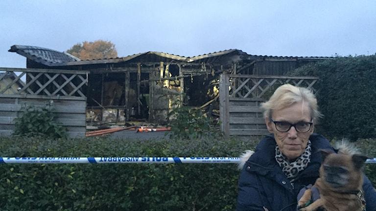 Yvonne Olofsson, granne som såg branden. Foto: Nina Sköldqvist/Sveriges Radio